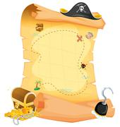 A brown treasure map - stock illustration