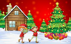 Two playful dwarves near the christmas trees Stock Illustration