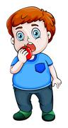 A fat Asian eating apple - stock illustration