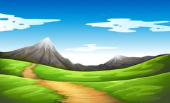 A pathway going to the mountain - stock illustration