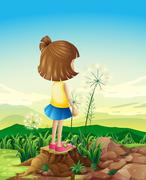 A child standing above the stump while sightseeing Stock Illustration