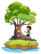 A boy sitting above the roots of a tree amazed by the treehouse - stock illustration