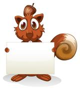 A squirrel holding an empty signboard - stock illustration