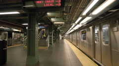 Subway Train Station Platform New York City NYC MTA 4K Departing Leaving Smooth Stock Footage