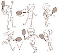 Sketches of people playing tennis - stock illustration