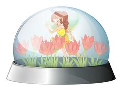 Stock Illustration of A dome with a fairy in the garden inside