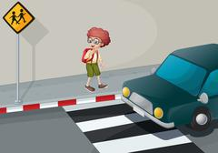 A young boy with a backpack standing near the pedestrian Stock Illustration