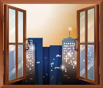 An open window across the city buildings - stock illustration