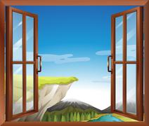 A window with a view of the cliff at the river Stock Illustration