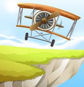 Stock Illustration of A plane near the cliff