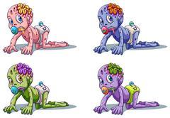 Scary zombie infants - stock illustration