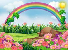 An enchanting garden with a rainbow - stock illustration
