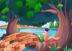 A worm reading a book above the roots of a tree - stock illustration