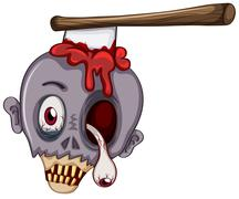 A skull of a zombie Stock Illustration
