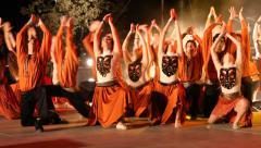 Dancers perform nostalgic Israeli folk dances during Harvest Festival Stock Footage