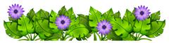 Green leafy plants with flowers - stock illustration