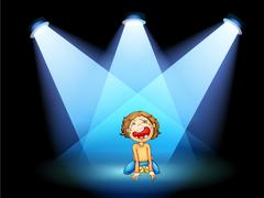 A girl crying in the middle of the stage with spotlights Stock Illustration