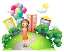 A young lady in the middle of the road with balloons Stock Illustration
