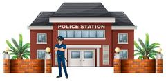 A policeman standing in front of the police station - stock illustration