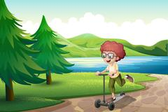 A boy playing with his scooter near the river Stock Illustration