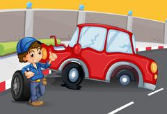 A boy near the car accident at the road - stock illustration