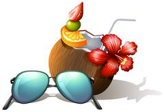 A refreshing drink and a sunglasses for a beach outing - stock illustration