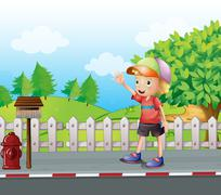 A young boy waving near the mailbox at the road - stock illustration