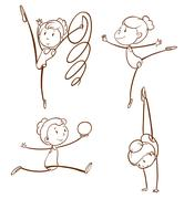 Sketches of a girl doing gymnastics - stock illustration