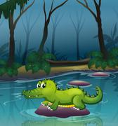 An alligator at the river inside the forest - stock illustration