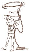 A plain sketch of a cowgirl - stock illustration