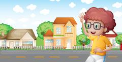 A boy jogging in front of the neighborhood Stock Illustration