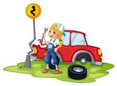 A female mechanic fixing the red broken car Stock Illustration