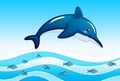 A sea with a big dolphin and a school of small fishes - stock illustration