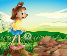 Stock Illustration of A young girl above the stump near the rocks