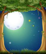 A forest and the bright moon - stock illustration