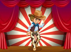 A cowboy in the middle of the stage Stock Illustration