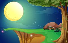 A bright fullmoon and the cliff - stock illustration