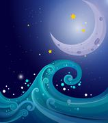 An image of the sea waves with a moon - stock illustration
