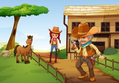 A cowgirl and an armed cowboy near the barnhouse - stock illustration
