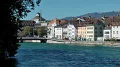 Europe Switzerland city of Solothurn 002 cityscape and bridge over Aare river Stock Footage