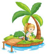 A sad girl in the island watching the water Stock Illustration