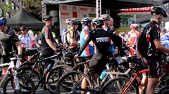 Cycling race - cyclist wait Stock Footage