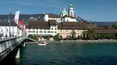 Europe Switzerland city of Solothurn 003 St. Ursus Cathedral seen from riverside Stock Footage
