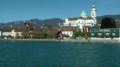 Europe Switzerland city of Solothurn 004 Cathedral of St. Ursus seen from Aare Stock Footage