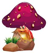 Stock Illustration of A frog below the giant mushroom