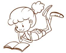 A simple sketch of a girl reading Stock Illustration