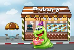 Stock Illustration of A monster with a cake near the bakery