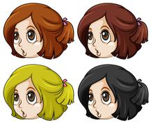 Stock Illustration of Girls with different hair colors