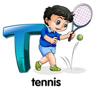 A letter T for tennis - stock illustration