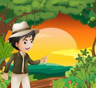 A handsome young man in the forest Stock Illustration